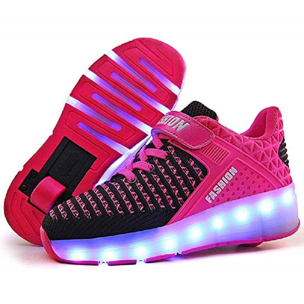 SDSPEED Kids Roller Skate Shoes with Single Wheel Shoes Sport Sneaker 7 Colors LED Rechargeable (LED Chameleon Pink, 2.5 M US Little Kid)