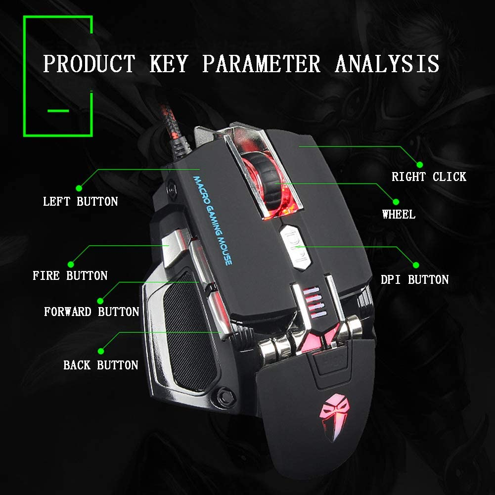 XRFF Mechanical Mouse programmable Wired Gaming Mouse Adjustable DPI Adjustable Weight Ergonomic Design Waterproof Comfortable Feel Laptop PC Universal 10 Key,Black