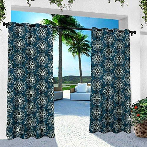 Victorian, Outdoor Curtain Extra Wide, Vintage Stars and Abstract Geometric Swirls Pattern Timeless Motifs, Outdoor Curtain panels for Patio Waterproof W120 x L96 Inch Dark Teal and Pale Green