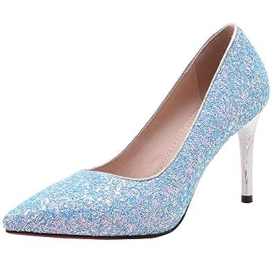 Aiyoumei Damen Glitzer Spitz Stiletto High Heels Pumps Mit 8cm