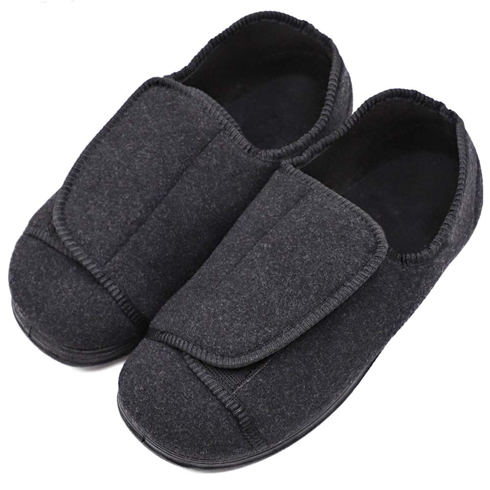 MEJORMEN Womens Diabetic Edema Slippers Comfortable Sturdy Sole Shoes Orthopedic with Adjustable Closures for Wide/Swollen Feet Black, 10 by MEJORMEN