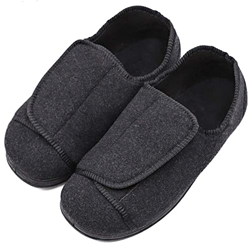 d6e335acbc1c4 Womens Diabetic Edema Slippers with Adjustable Closures Wide Width House  Diabetes Strap Footwear Comfortable Orthopedic Shoes Easy On Off for  Elderly ...