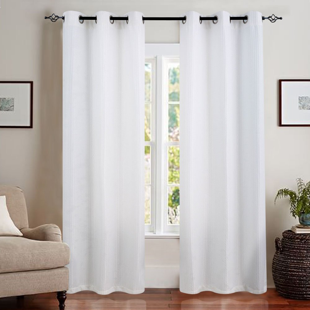 White Curtains 84 inch Living Room Curtains Waffle Weave Light Reducing Privacy Window Curtain for Bedroom Window Treatment Set, Grommet Top, 2 Panels