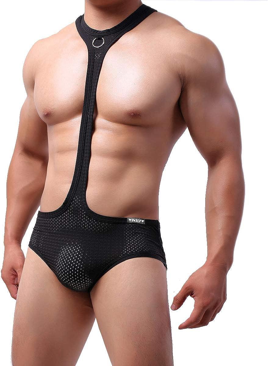4UFiT Mens Mesh Wrestling Singlet Bodysuit Athletic Supporters Boxer Bodysuit Underwear