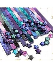 Paperkiddo 800 Sheets Origami Stars Paper 8 Different Designs of Arts Crafts Kids Grown-ups School Teachers Folding Origami Star