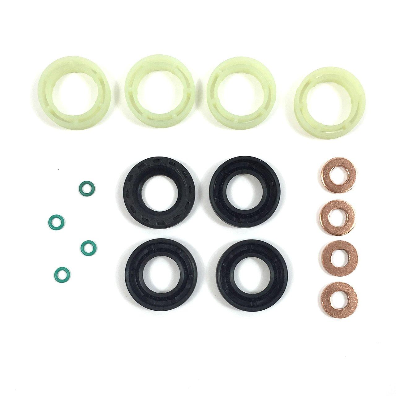 Unterlegscheibe passend f/ür 1,6/TDCi//HDI. O-Ring Set mit Kraftstoff-Einspritzerdichtung