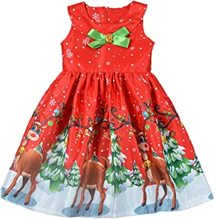 Danhjin Baby Girls Clothes Floral Deer Sleeveless Christmas Dresses Outfits for Party Special Occasion Pageant Kids