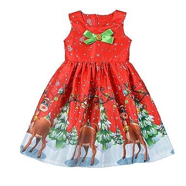 9a475aa21a4a9 Amazon.co.jp: 子供ドレス Jopinica 女の子 クリスマス サンタクロース クリスマスツリー ヘラジカ プリント プリンセススカート  ウンドネック コットン ノースリーブ ...