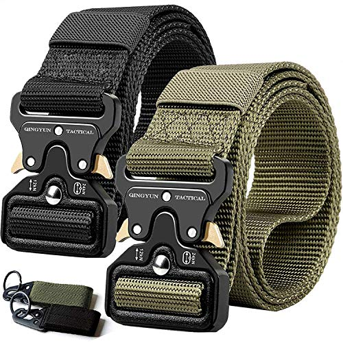 QINGYUN RONGQI 2Pack Tactical Belt,Military Style Quick Release Belt,1.5