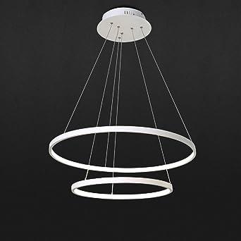 LED Pendelleuchte Runde 2 Ring Design Hängelampe Hängeleuchte Moderne  Beleuchtung Leuchte Für Wohnzimmer Esszimmer Acryl Und