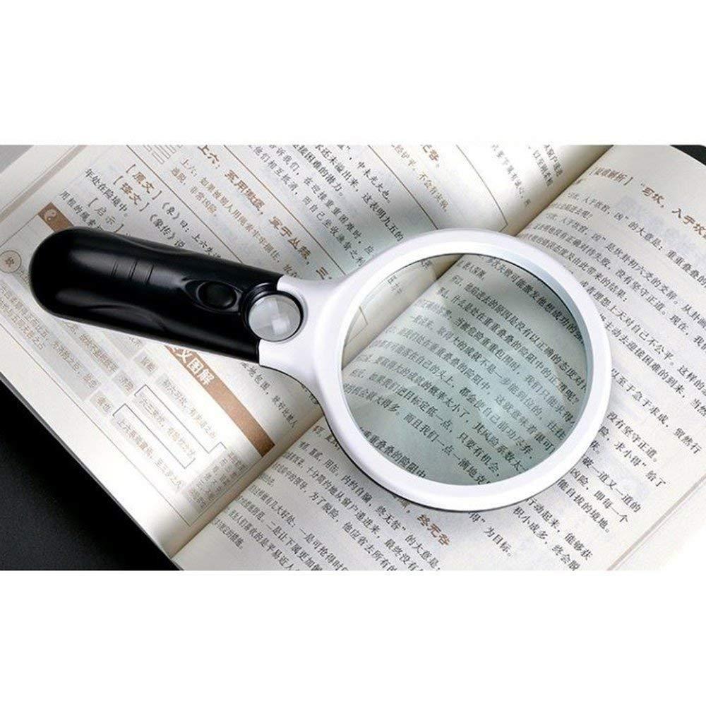 Magnifying Glasses Lupa-10X 20X Lupa Iluminada De Mano 3 Súper Luz LED Claridad Súper 3 Alta Lectura De La Lente Encendida Joyas De La Lupa,75mm cfd638