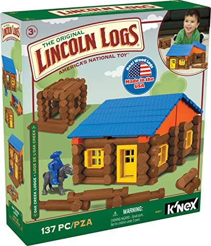 LINCOLN LOGS – Oak Creek Lodge – 137 Pieces – Real Wood Logs-Ages 3+ – Best Retro Building Gift Set for Boys/Girls – Creative Construction Engineering – Top Blocks Game Kit – Preschool Education Toy