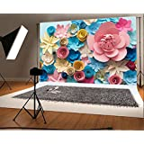Laeacco Vinyl 7x5ft Photography Background Colorful Flowers Paper Background Pattern Lovely Style Champagne Blue Pink Blossoming Flower Backdrops Portraits Shooting Video Studio Props 2.2x1.5m