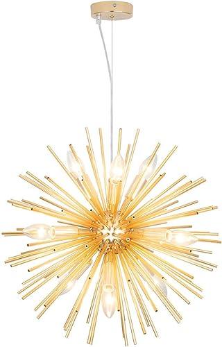Lampundit Sputnik Chandelier 9 Light Golden Modern Pendant Lighting Gold Industrial Firework Ceiling Light Fixture UL Listed