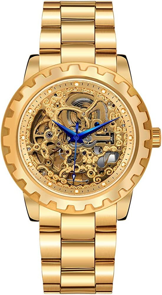 BERNY Mens Watch,Skeleton Automatic Gold Watches for Men,Stainless Steel Waterproof Self Winding Men's Wrist Watches