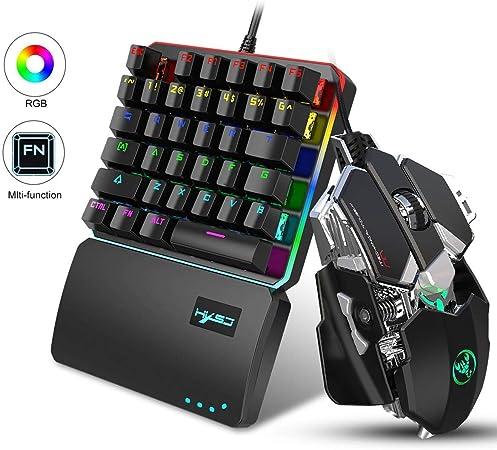 Fewao Juego de teclado y ratón para juegos con retroiluminación y cableado personalizado para PS4/PS3/Xbox One/Switch
