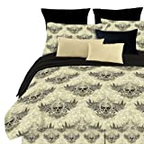 Veratex Street Revival Collection Stylish Winged Skull Design 100% Polyester Bedroom Sheet Set, Queen Size, Multicolored