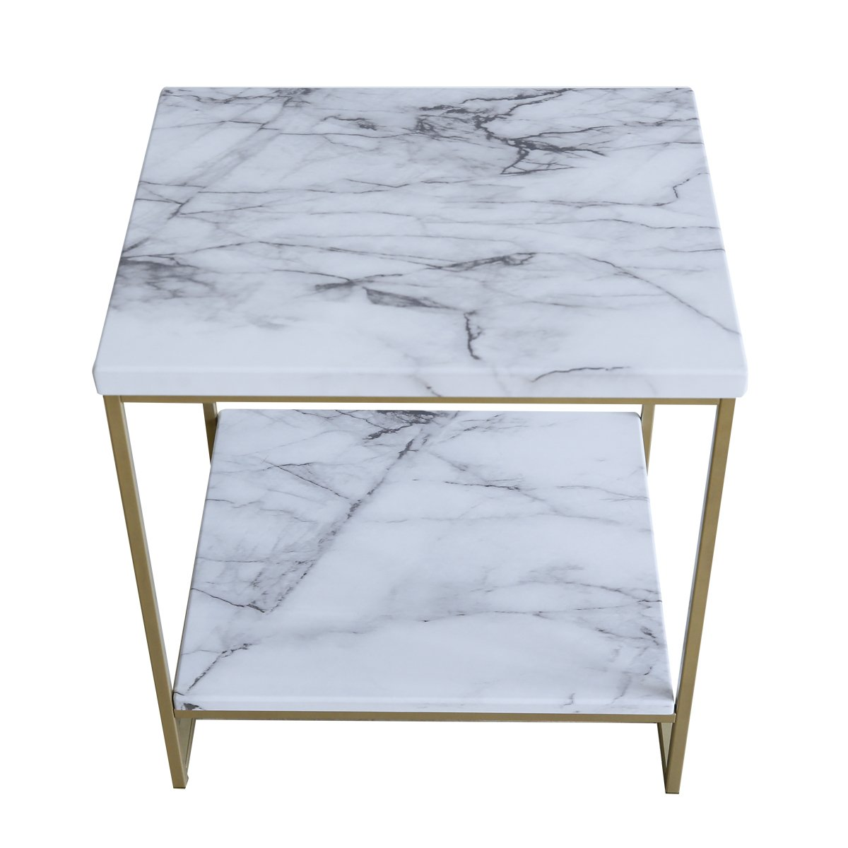 Roomfitters White Marble Print Side Table With Gold Metal Frame, Living  Room Bedroom Tables