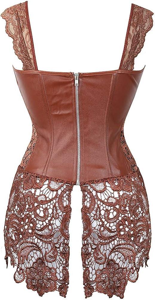 Grebrafan Steampunk Faux Leather Corset with Lace Dress Zipper Back Bustier