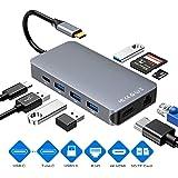 Comter USB C Hub, HDMI y RJ45 Gigabit Ethernet LAN Hub de Red, con 40Gbps Thunderbolt 3, USB-C Power Delivery, SD y Lector de Tarjetas Micro SD/TF, 4 Puertos USB 3.0 (Gris)