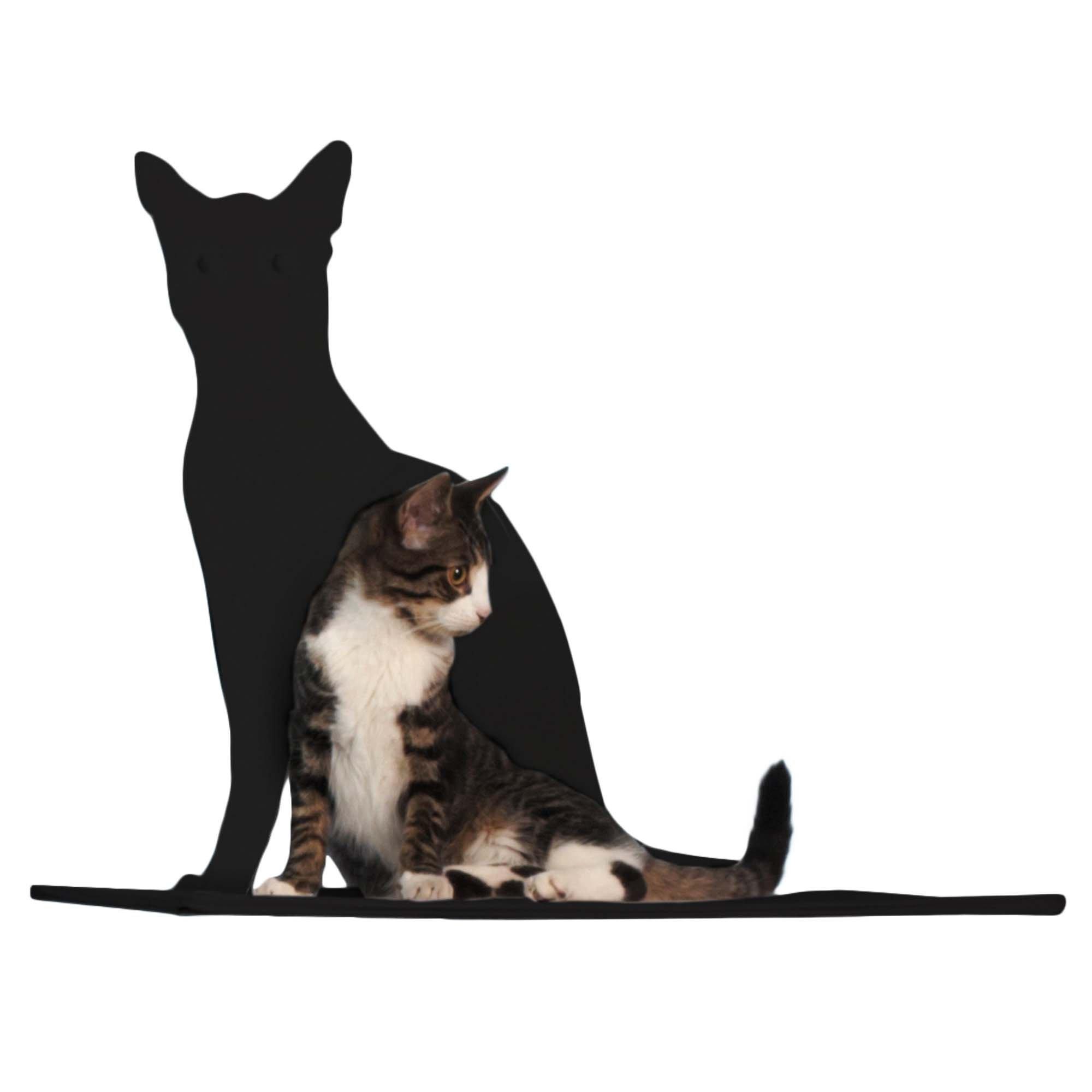Cat Silhouette Cat Shelf Perch - Black