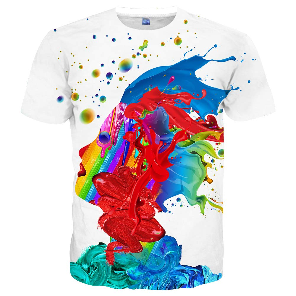 9d35b029b Hgvoetty Unisex 3D Printed Rainbow Watercolor Paint Short Sleeve T-Shirt  XXL,Style-white,