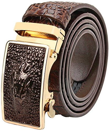 - Falari Men's Crocodile Alligator Dress Belt Embossed Genuine Leather Strap Brown 7021-BN-XL44