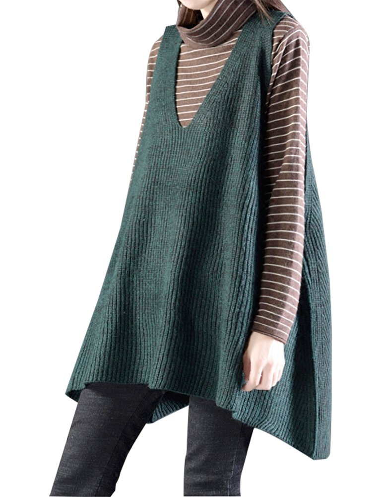 IDEALSANXUN Womens V-Neck Sleeveless Pullover Knitted Vest Sweater Large Hem Loose Style (One size, #1 Green)