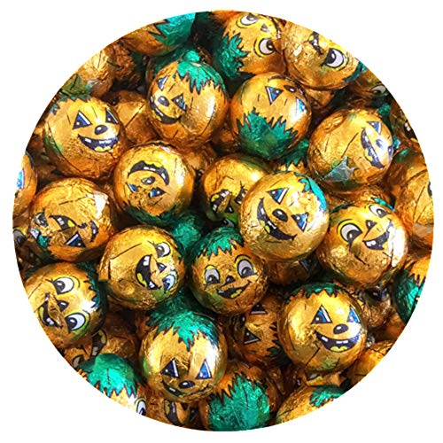 Milk Chocolate Coated Soft Caramel Center Bumpkins, Pumpkin Foil Wrapped Chocolates - 3 Pound Bulk Bag -