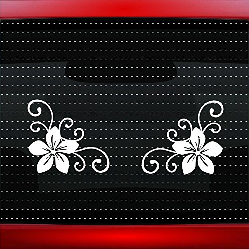 Hibiscus #15 Plumeria Corner Pair Cute Hawaiian Car Sticker Truck Window Vinyl Decal COLOR: WHITE