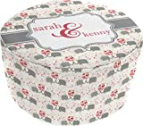 Elephants in Love Round Pouf Ottoman (Personalized)