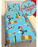 Charactor World Super Mario Housse de couette réversible pour garçon pour lit simple