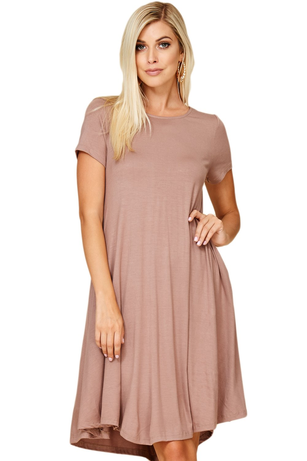 Annabelle Women's Comfy Short Sleeve Scoop Neck Swing Dresses with Pockets X-Large Brown Taupe Grey D5213X