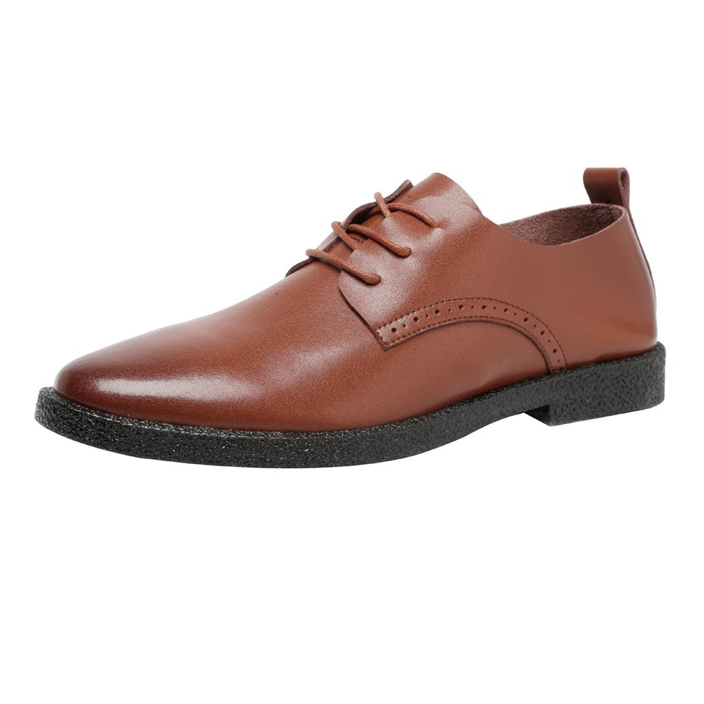 Sunny&Baby Zapatos Casuales de los Hombres Mocasines de Cuero Genuino con Cordones Respirables Oxfords del Dedo del pie Acentuado Resistente a la Abrasión 41 EU Brown