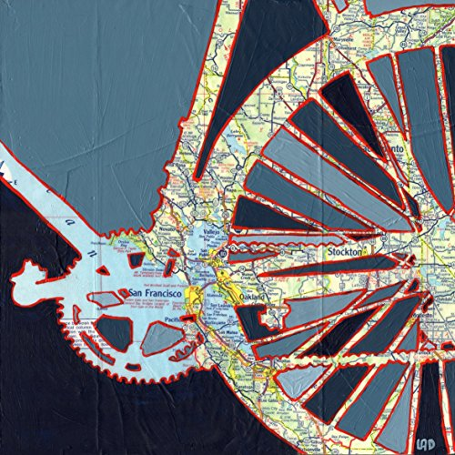 San Francisco print - featuring Oakland, Berkeley, Stockton, Redwood City, Palo Alto, Sonoma, Napa bicycle art print, bike print, 8.5x8.5, 13x13, - Stockton Francisco San