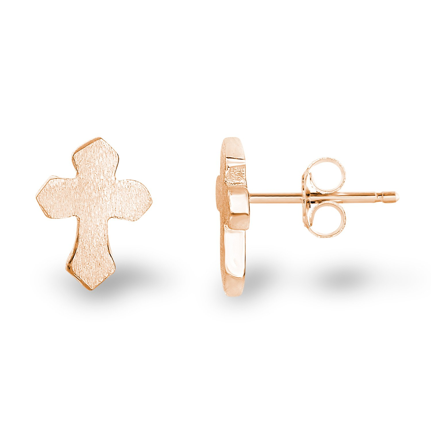 Spoil Cupid 14k Rose Gold-Plated Sterling Silver Matte Finish Gothic Cross Stud Earrings