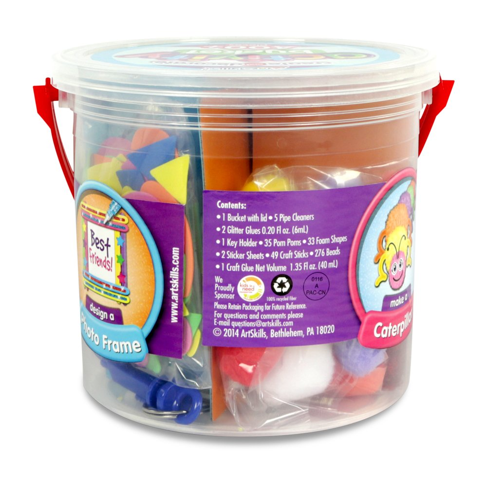 ArtSkills Activity Bucket Arts and Crafts Supplies 10 Project Ideas Assorted Colors and Shapes 404 Count