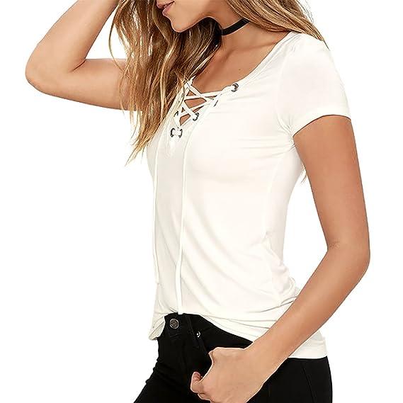 Exlura Camiseta Blusa para Mujer Casual con lazo Top Escote V: Amazon.es: Ropa y accesorios