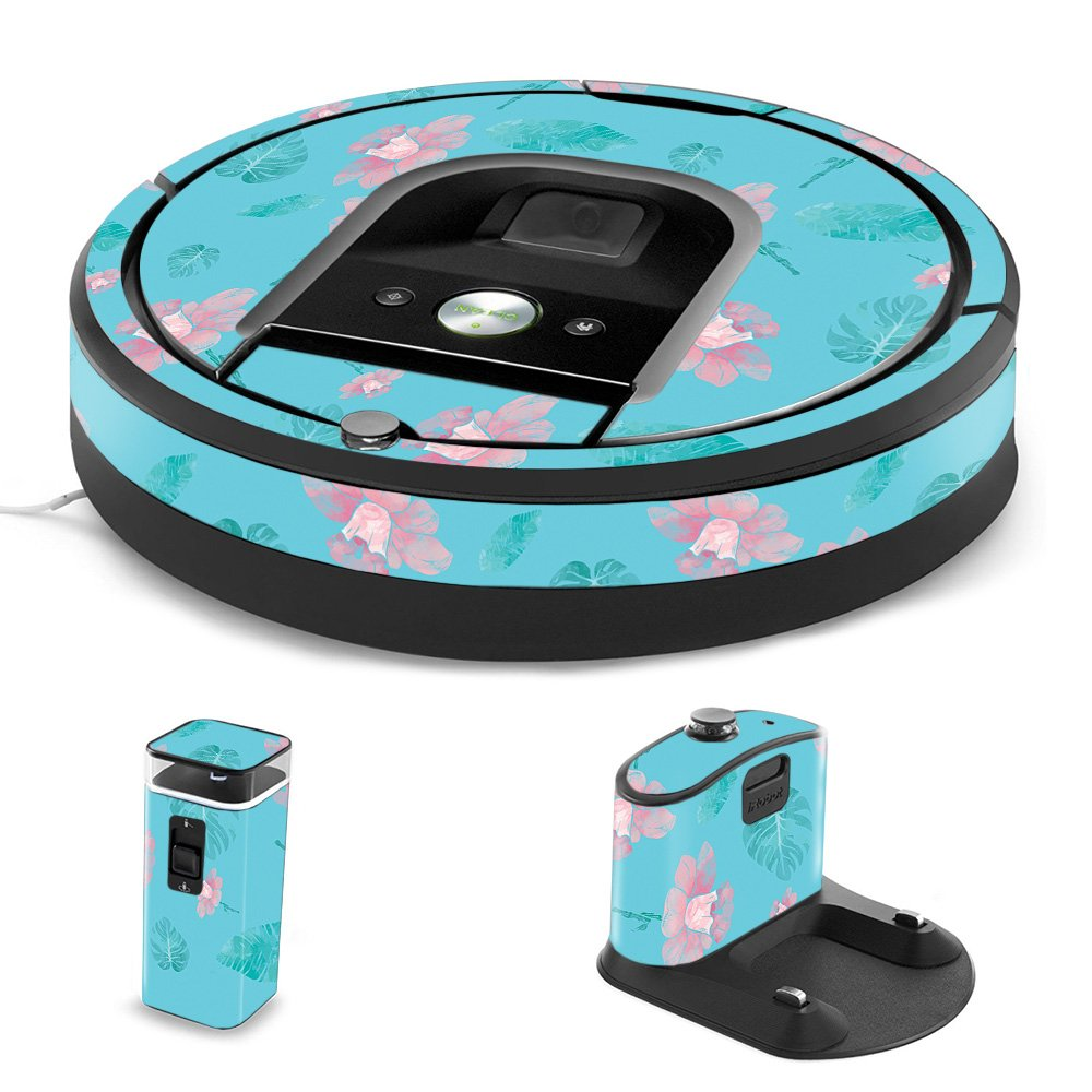 MightySkins Skin Compatible with iRobot Roomba 960 Robot Vacuum - Water Flowers   Protective, Durable, and Unique Vinyl Decal wrap Cover   Easy to Apply, Remove, and Change Styles   Made in The USA