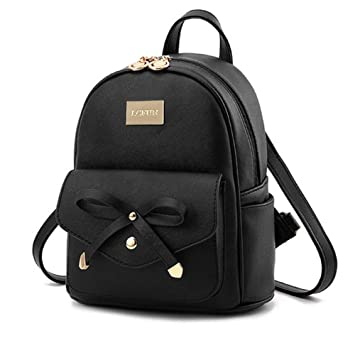 Alice Cute Black Mini PU Leather Backpack Fashion Small Daypacks Purse for  Girls and Women  Amazon.in  Bags c51107630f18e