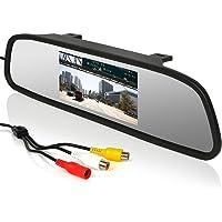 """Cocar Universale 4.3"""" a Colori TFT Retrovisore Posteriore Video Monitor LCD Schermo Mount Clip-On Specchio per Auto Camion, 12V-24V 2 Canali RCA di Ingressi Video, Monitor per Frontale Fotocamera / Media Player"""