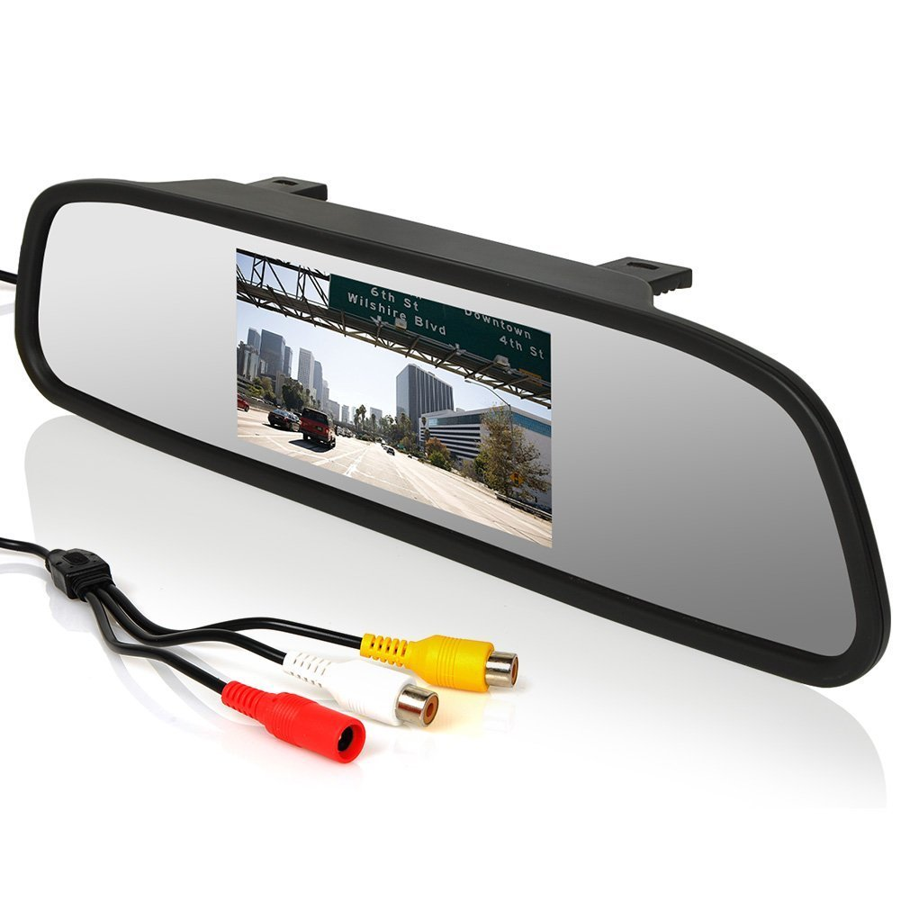 E-Kylin 12V-24V 4.3 inch Car Video Monitor Auto Rear View Mirror LCD Screen Universal Mount Clip-On Current Mirror for Backup Camera//Front Camera//Media Player//Safety Driving 2 Ways RCA Input