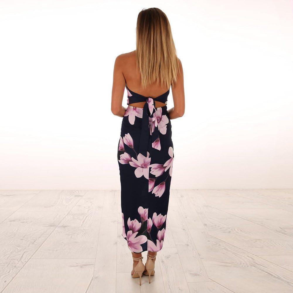 Damen Sommerkleid Maxikleid Weg von der Schulter Freizeitkleid Boho Kleid Dame Strandkleidung Hemdkleid Blusekleid Kleidung R/ückenfrei Lang Skaterkleid Partykleider
