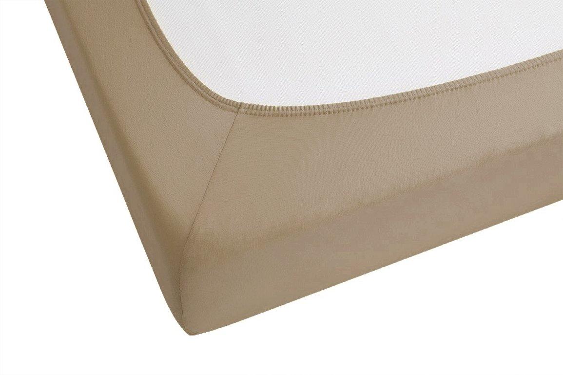 Biberna 77866/544/322 - Sábana bajera ajustable (tejido elástico, 180 x 200 cm a 200 x 220 cm), color pardo: Amazon.es: Hogar