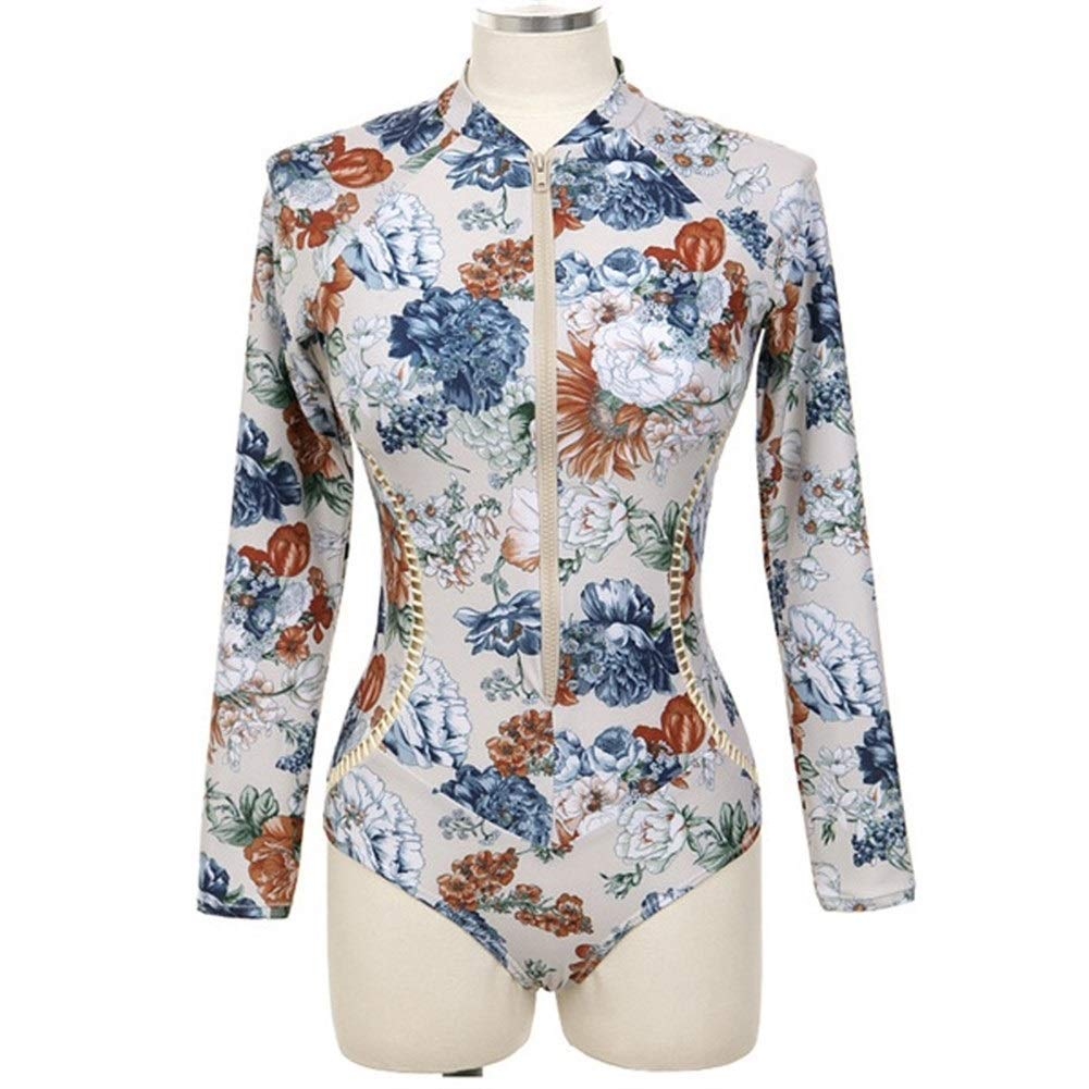 女性のワンピース水着サーフ服ジッパーガード長袖水着ビーチウェア花柄水着サンスーツ s8rf5w6g2  Large