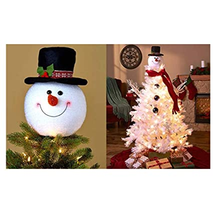 frosty snowman top hat christmas tree topper decor holiday winter wonderland decoration by knl store - Top Hat Christmas Decorations