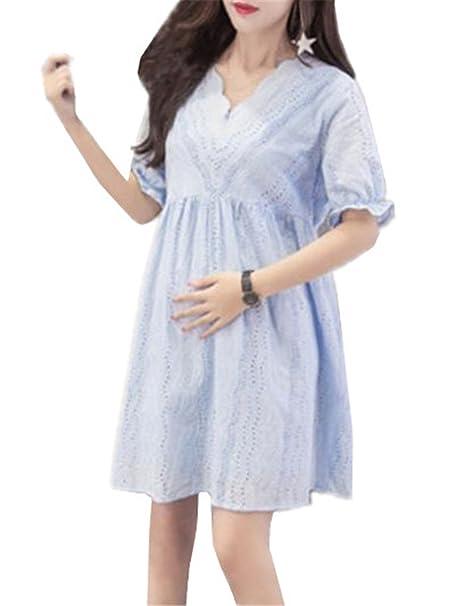 BESTHOO Vestido Premamá Mujer Suelto Vestidos de Manga Corta V-cuello Asimétrico Vestido Embarazo Atractivas
