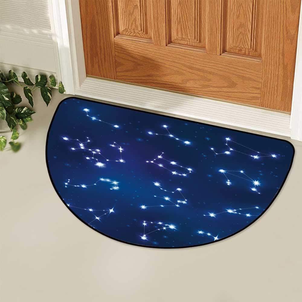 YOLIYANA Constellation Semi Circle Mat,Realistic Celestial Gemini Leo Pisces Sagittarius Galactic Carpet Indoor Mat,25.9'' H x 51.1'' L by YOLIYANA (Image #4)