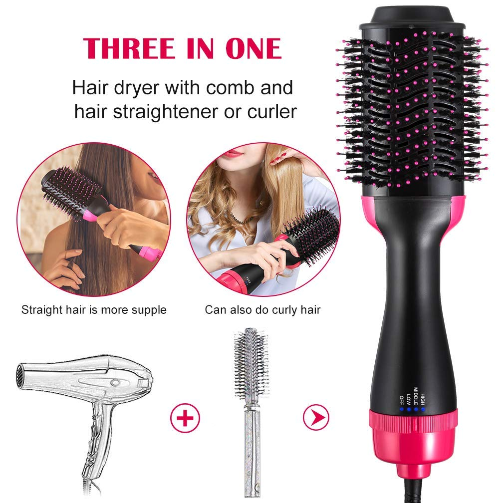 YJF Hot Air Brush One Step Hair Dryer & Volumizer 3-in-1 Electric Hair Blow Dryer & Styler Negative Ionic Salon Straightening Brush and Curly Hair Comb by YJF (Image #2)