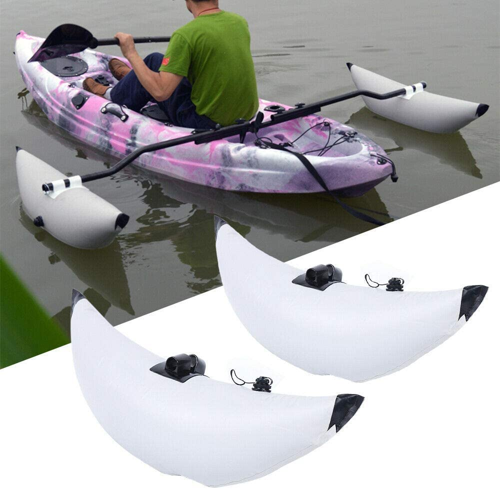 WINUS Fishing Boat Stabilizer, Inflatable 2 White PVC Kayak Canoe Boat Fishing Outrigger Stabilizer & AMA Kit Canoe Fishing Boat Standing Float Stabilizer System